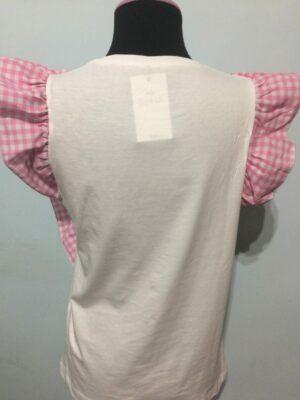 Camiseta calavera volantes blanca.